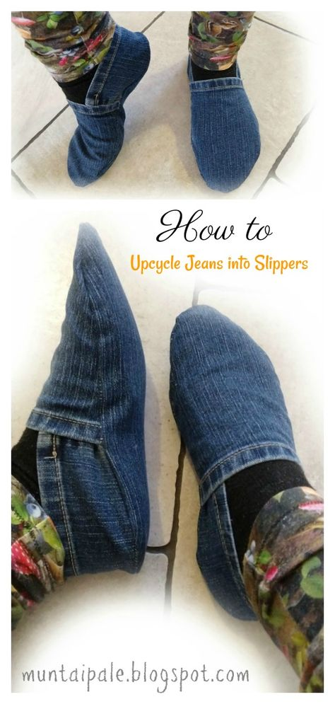 Upcycle Jeans into Slippers Free Sewing Pattern, ropa reciclada manualidades Upcycle Jeans into Slippers Free Sewing Pattern Sewing Patterns Free, Free Sewing, Sewing Tutorials, Pattern Sewing, Sewing Hacks, Sewing Crafts, Sewing Projects, Sewing Tips, Denim Quilt Patterns