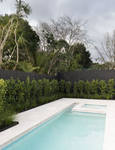 A year-long renovation transformed this traditional Mt Eden, Auckland villa into a contemporary and luxurious bachelor pad Tropical Pool Landscaping, Small Backyard Pools, Backyard Pool Designs, Swimming Pools Backyard, Outdoor Pool, Backyard Landscaping, Landscaping Design, Landscaping Around Pool, Pools For Small Yards