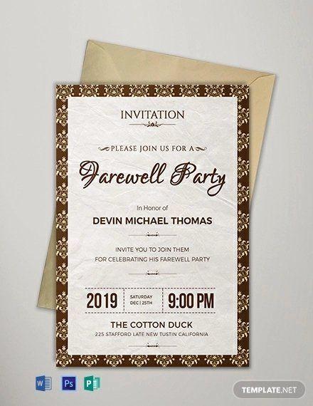 Farewell Invitation Template Free Beautiful 16 Farewell Card Template Word Pdf Psd Eps Invitation Template Farewell Invitation Card Farewell Party Invitations