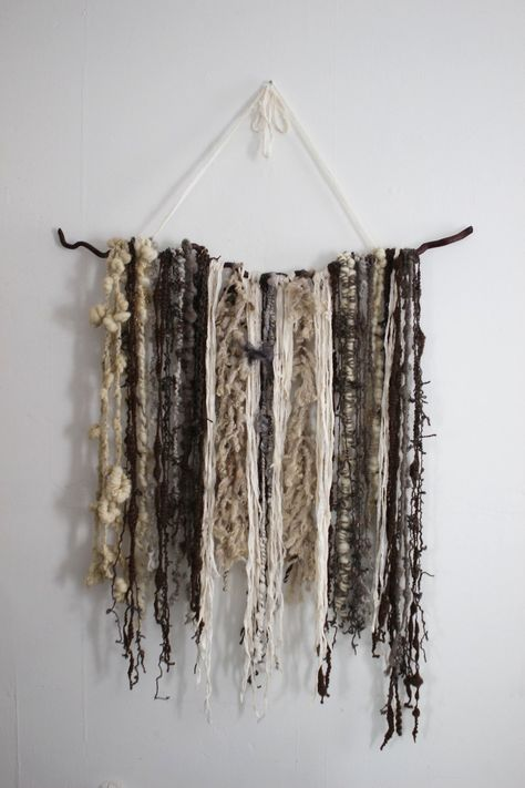 Super textured art yarns are perfect for displaying as wall hangings, and  you can find lots of inspiration for wall weavings on Pinterest. Here is a  very simple wall hanging that I made with remnants of art yarns and yarns  that were too bulky to use in knit or crochet.  MATERIALS:      * A tree branch (mine is about 3 feet long)     * 2 Yards of Sari Silk or other Yarn for Hanging     * 100-150 yards of various handspun and commercial yarns     * Niddy Noddy (optional)  INSTRUCTIONS:  My ...