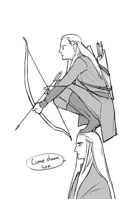 """Thranduil~ """"Now Legolas, when searching an area for enemies you need a good vantage point an- what are you doing?"""" Legolas~ """"Is this high enough Ada?*irritated sigh* come down, son. Legolas And Thranduil, Thranduil Funny, Aragorn, Arwen, O Hobbit, Hobbit Art, J. R. R. Tolkien, Tolkien Books, Middle Earth"""