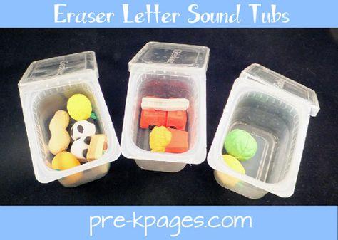 Japanese eraser letter sound tubs for teaching beginning sounds via www.pre-kpages.com #preschool #kindergarten #literacy
