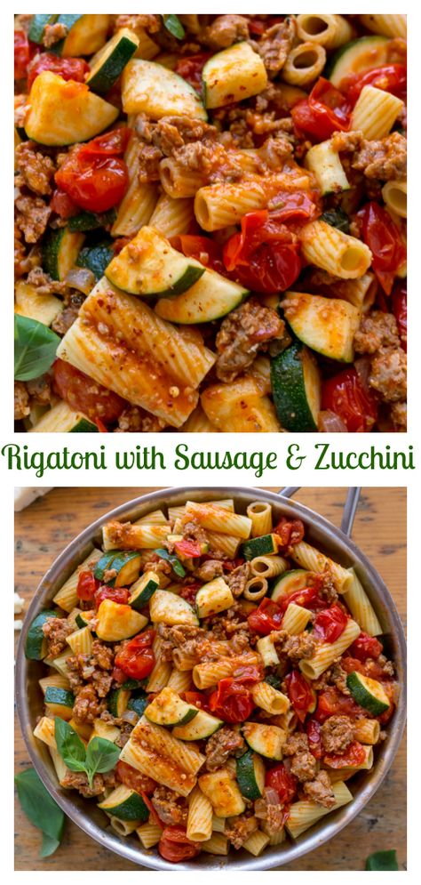 Rigatoni with Sausage, Tomatoes, and Zucchini - Baker by Nature - - Calling all pasta lovers! This hearty Rigatoni with Sausage, Tomatoes, and Zucchini is for you! It's so flavorful and easy enough to make on a weeknight! Pasta Con Zucchini, Zucchini Pasta Recipes, Easy Pasta Recipes, Cooking Recipes, Healthy Recipes, Zucchini Pizzas, Healthy Dishes, Recipes With Rigatoni Pasta, Pasta With Sausage