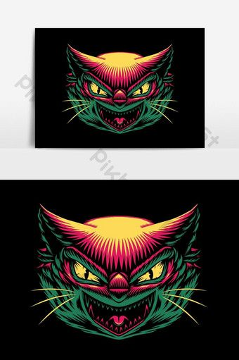 Angry Cat Face Graphic Vector Graphic Element Png Images Ai Free Download Pikbest Simple Cartoon Colorful Drawings Halloween Poster