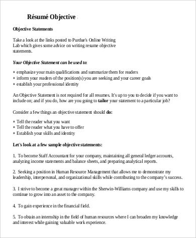 7 Sample General Objectives For Resume Templates