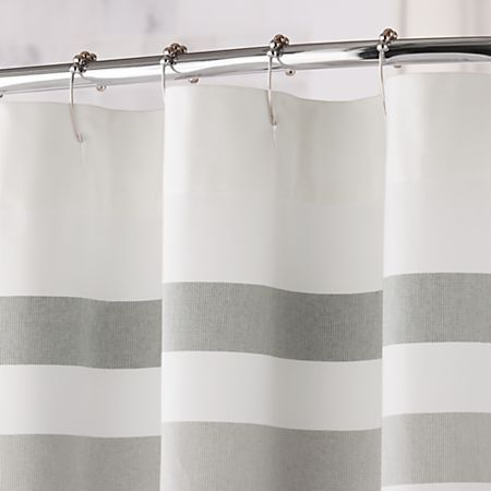 Cedros Grey Stripe Fringe Shower Curtain Reviews Crate And