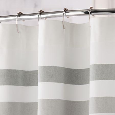 grey stripe fringe shower curtain