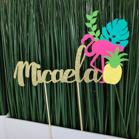 "Please provide us name of preference under the ""special instructions for seller"" box shown when processing the purchase. Beautiful flamingo birthday cake topper for your perfect tropical party! Size:7.5"" wide**High will vary depending on name.If you would prefer a different color combination or size, please send us a"