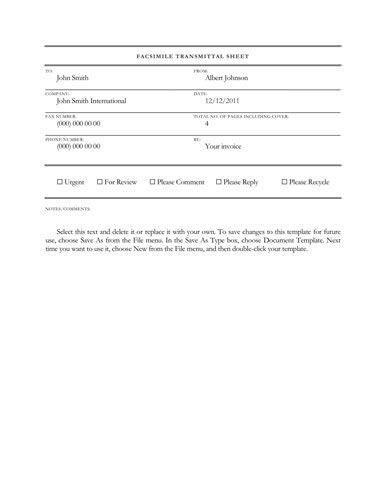 Formal corporate theme - Free Fax Template by Hloom Resume - fax template free