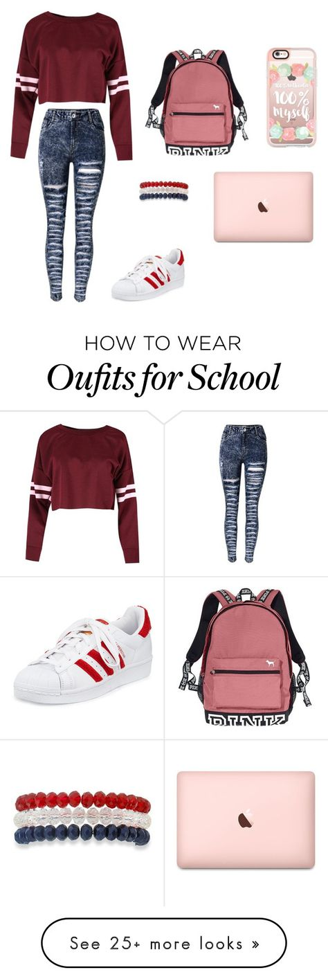 """""""Pink day to school"""" by baekhyunie on Polyvore featuring adidas, Victoria's Secret, Kim Rogers and Casetify"""