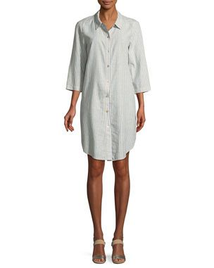 Eileen Fisher Striped Hemp Blend Shirtdress Eileen Fisher Shirt Dress Eileen Fisher Dress