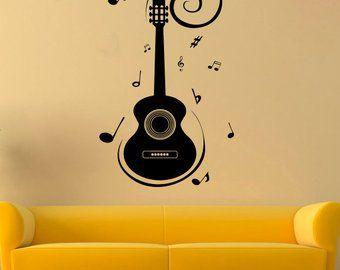 g3538 Vinyl Wall Decal Music Notes Rock Pop Musical Instrument Guitar Stickers