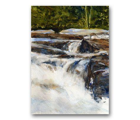 Jackson Falls Peinture Aquarelle Originale Par Par Lindahenryart