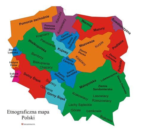 Etnograficzna Mapa Polski Rozmieszczenie Grup Etnograficznych