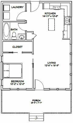 Picture 2 Of 4 Tiny House Floor Plans One Bedroom House Plans One Bedroom House