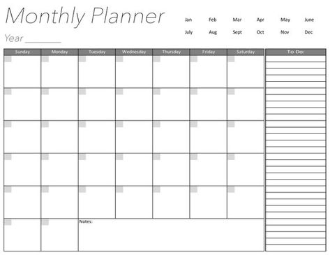 Blank Calendar Page Days Of The Week Monthly Planner Digital