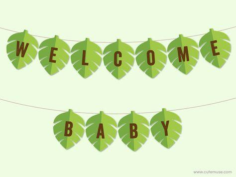 Jungle Baby Shower Banner Printable Jungle by CuteMusePrintable