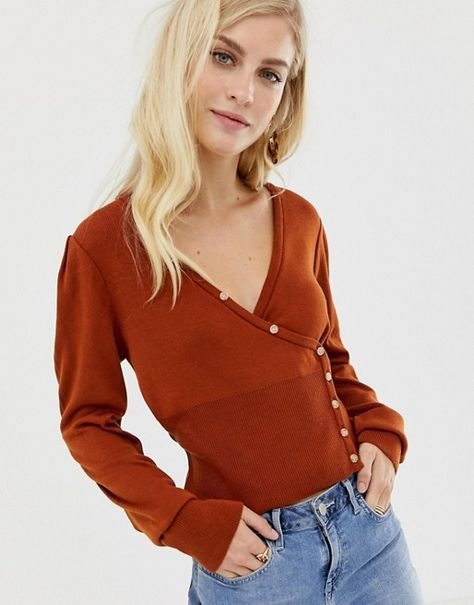 ASOS DESIGN wrap cardigan with button detail - 10 OR 12