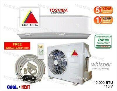 12 000 Btu Ductless Air Conditioner Heat Pump Mini Split 110v 1 Ton With Kit Ebay In 2020 Ductless Air Conditioner Ductless Heat Pump