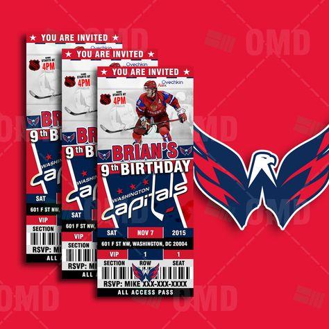 f0de79dbea0 2.5x6 Washington Capitals Hockey Sports Party Invitation