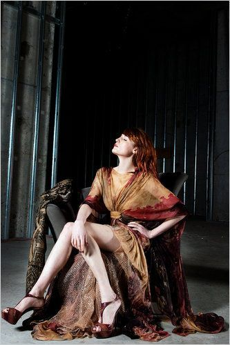 Florence Welch and Elie Saab Fall 2010 HC Full-Length Printed Chiffon Gown - Florence wore the Elie Saab Fall 2010 HC Full-Length Printed Chiffon Gown in a photoshoot for NY Times Magazine.