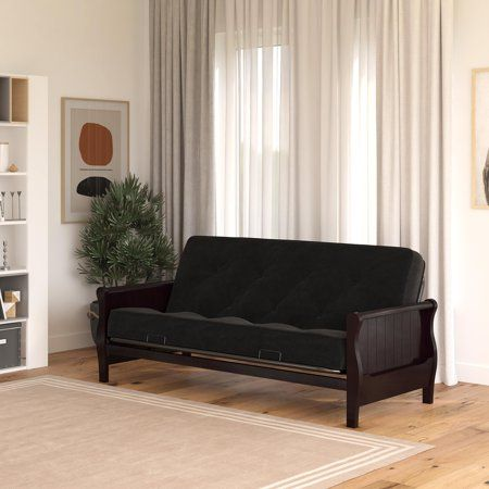 Dhp Wood Arm Futon With Espresso Finish And 8 Coil Futon Mattress Black Microfiber Walmart Com In 2020 Futon Mattress Comfortable Bedroom Decor Futon