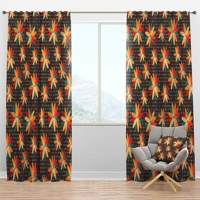 East Urban Home Floral Semi Sheer Thermal Rod Pocket Curtain