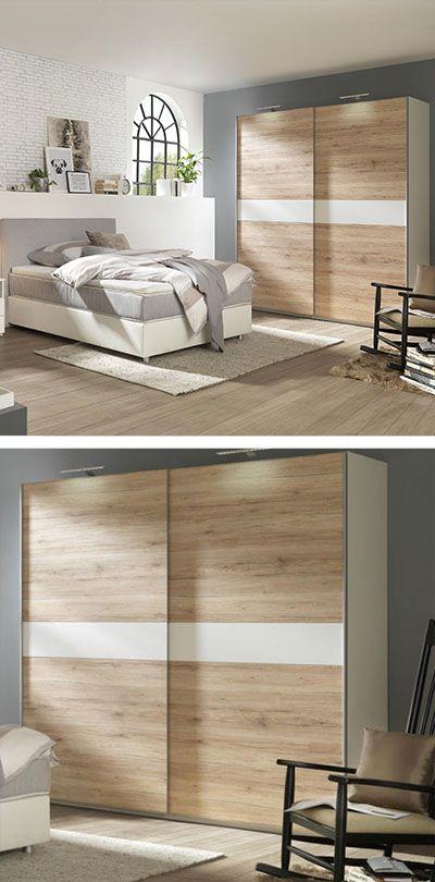 Schwebeturenschrank Holz Schlafzimmerschrank Mit Weissen Details Kleiderschrank Fur Schlafzimmer Schwebeturenschrank Schlafzimmer Set Haus