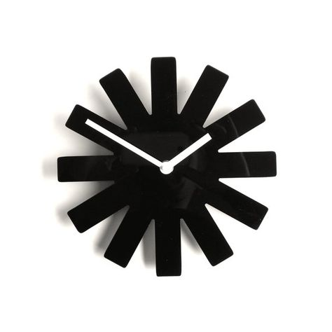 Objectify Black Asterisk Outline Wall Clock Clock Tinted Mirror