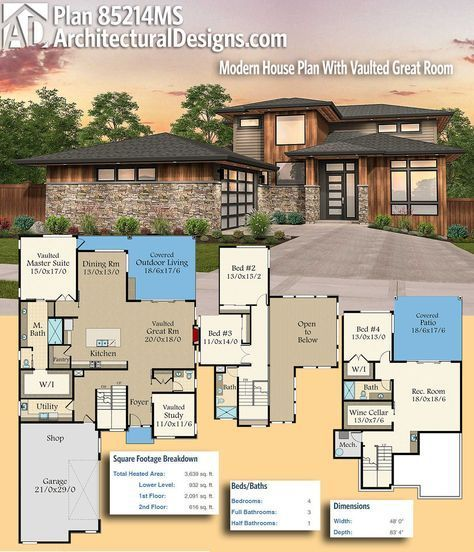 Plan 85214ms Modern House Plan With Vaulted Great Room Modern House Plan Architectural Floor Plans House Plans