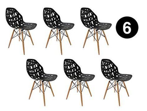 Lot 6 Chaises Madrid Noir Scandinave Ibh Design Amazon Fr