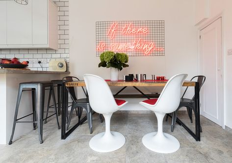 Brilliant Breakfast Nook - Inside An English Designer's Home FILLED With Neon - Photos