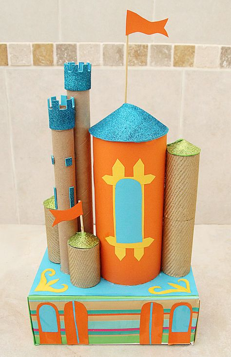 Castle out of a tissue box and recycled cardboard tubes. Colorful and fun!