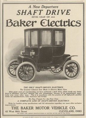 "Baker  Electric  Shaft  Driven Automobile  Ad  Deco Poster Full Color 11/"" X 17"