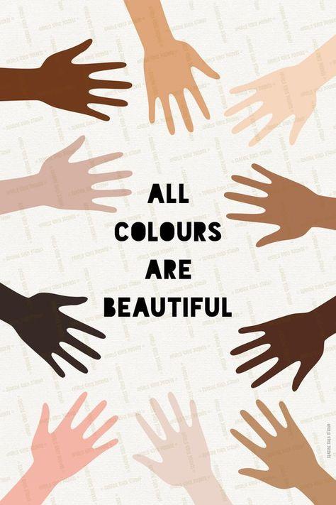 Anti discrimination poster No racism Diverse humanity Hands