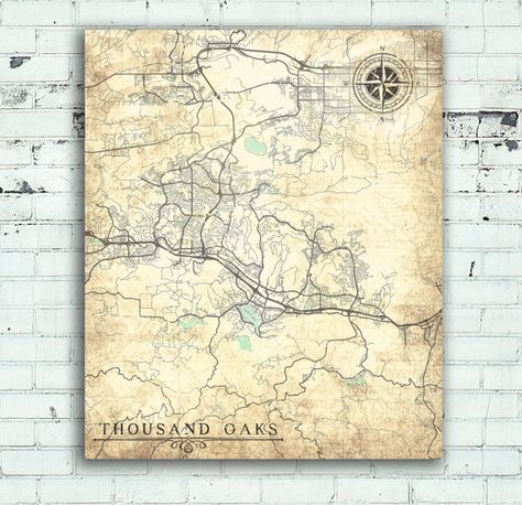THOUSAND OAKS California Vintage Map Thousand Oaks City California - Thousand oaks map