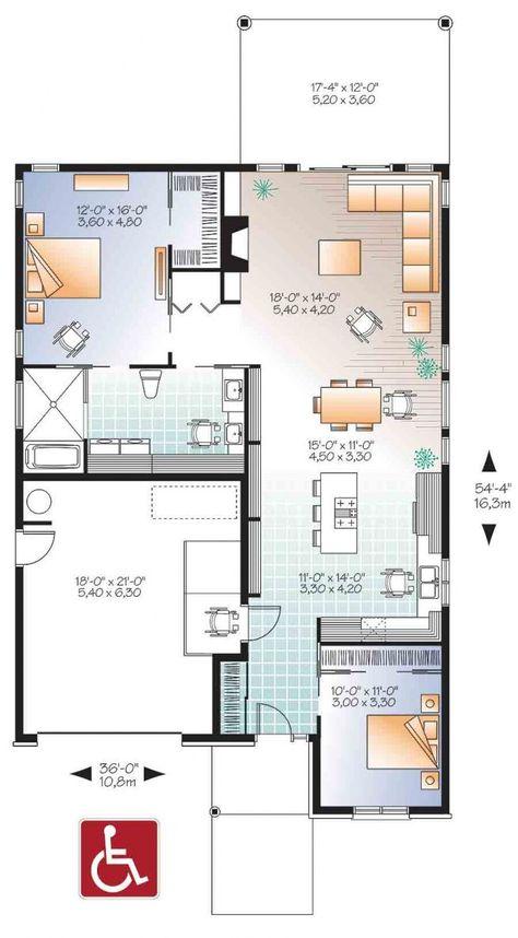 Plan de Rez-de-chaussée Bungalow contemporain, mobilité réduite ou fauteuil roulant, plafond 9pi., grande terrasse abritée - Rochefort