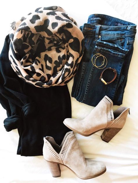 Fall Scheming Can't wait to wear this cozy black v-neck pullover sweater shirt it's one of the softest tops I own! And this leopard scarf is gauzy light Look Fashion, Fashion Outfits, Womens Fashion, Fashion Scarves, Workwear Fashion, Fashion Blogs, Jeans Fashion, Girl Fashion, Fashion Trends