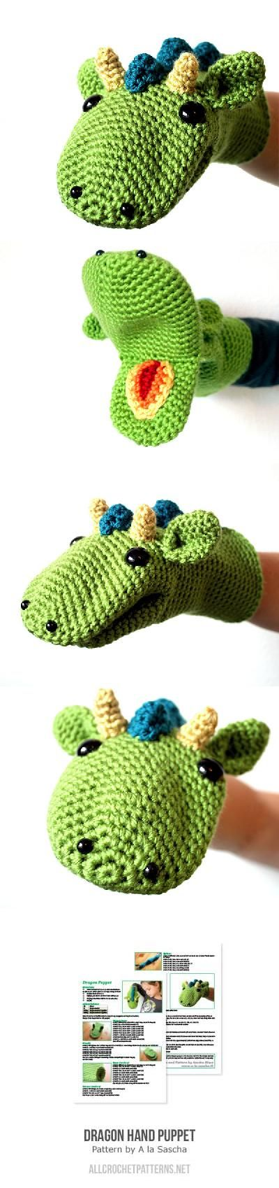 Dragon Hand Puppet Crochet Pattern | What a cute birthday present idea for a little boy or girl