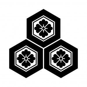 三つ盛亀甲花角 家紋 和柄 日本 文様