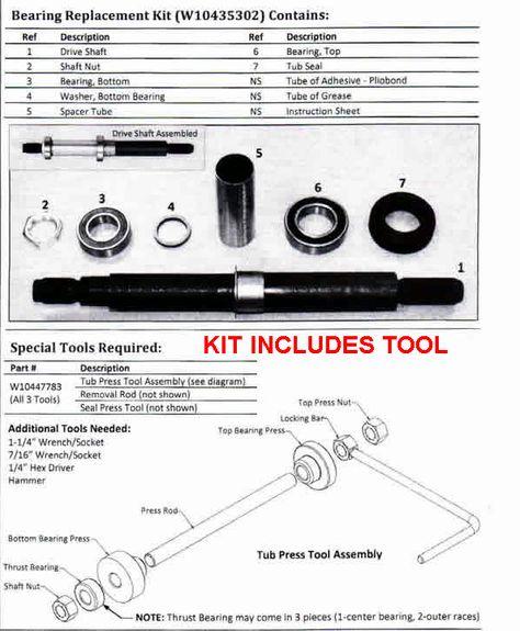 W10435302kit Whirlpool Cabrio Washer Tub Bearing Repair Kit Whirlpool Washing Machine Whirlpool Repair