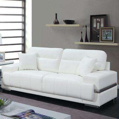 Orren Ellis Obryant Contemporary Sofa Upholstery Best Leather Sofa Furniture White Leather Sofas
