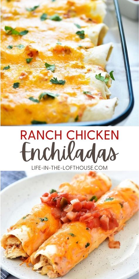 Ranch Chicken Enchiladas are flour tortillas wrapped around a shredded taco chicken center that is covered in cheese and a salsa-ranch mixture. These enchiladas are always on our monthly dinner rotation because my family loves them!