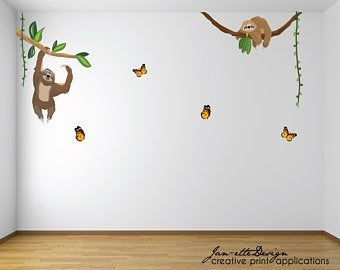 Large Monkey and vines Wall Decal Removable and Reusable Jungle theme fabric wall decal,Jungle safari theme Nusery