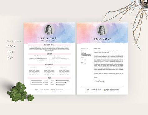 floral pattern resume template cv cover letter by showy68template