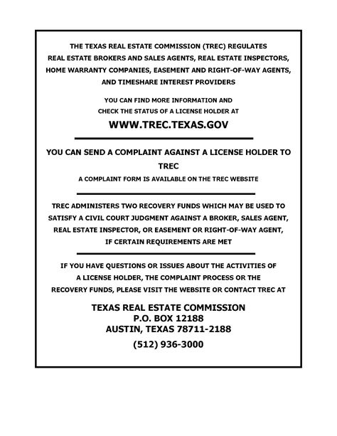 Texas Real Estate Commission Consumer Protection Notice TREC - sample civil complaint form