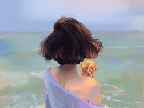 Ocean, Peace, Painting, art, design, brush, Gif, wind, hair, illustration, photoshop  Seaside by Jenny Yu