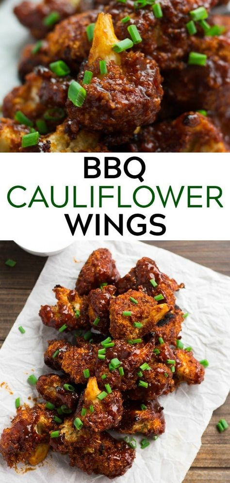 These meatless BBQ Cauliflower Wings are perfect for Game Day! #vegan #plantbased