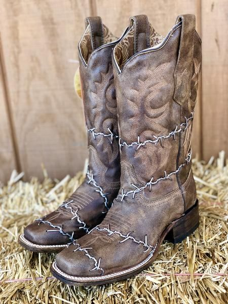 389691fa626 Corral Women's Brown Barbed Wire Square Toe Western Boots A3650 in ...