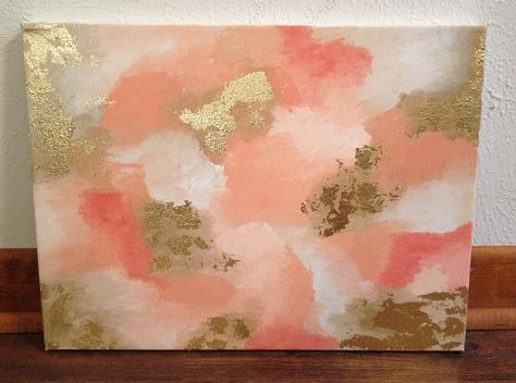 diy gold leaf abstract painting
